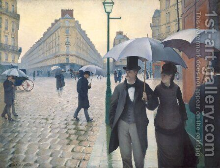 Paris Street- Rainy Weather 1877 by Gustave Caillebotte - Reproduction Oil Painting