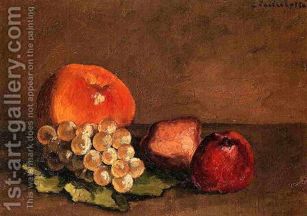 Peaches  Apples And Grapes On A Vine Leaf by Gustave Caillebotte - Reproduction Oil Painting