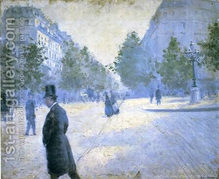 Place Saint Augustin  Misty Weather by Gustave Caillebotte - Reproduction Oil Painting