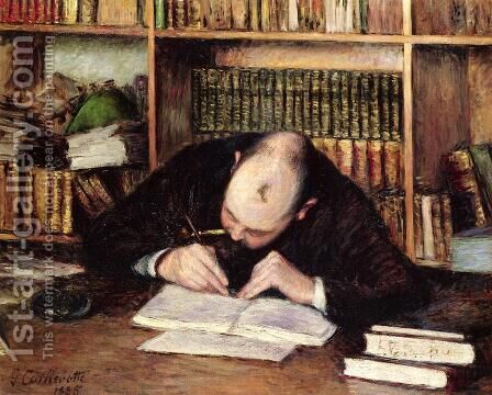 Portrait Of A Man Writing In His Study by Gustave Caillebotte - Reproduction Oil Painting