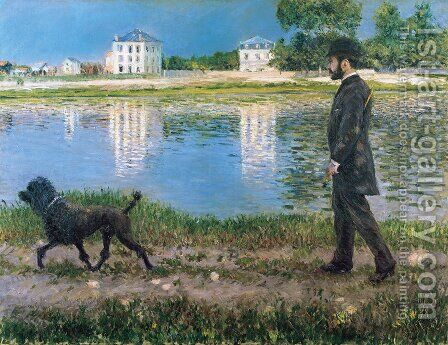 Richard Gallo And His Dog At Petit Gennevilliers by Gustave Caillebotte - Reproduction Oil Painting