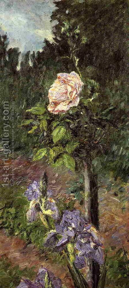 Rose With Purple Iris  Garden At Petit Gennevilliers by Gustave Caillebotte - Reproduction Oil Painting