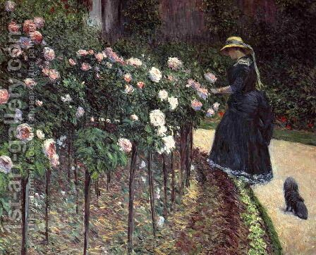 Roses  Garden At Petit Gennevilliers by Gustave Caillebotte - Reproduction Oil Painting