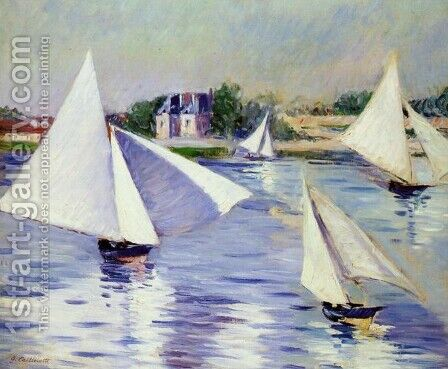 Sailboats On The Seine At Argenteuil by Gustave Caillebotte - Reproduction Oil Painting