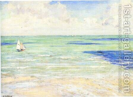 Seascape  Regatta At Villers by Gustave Caillebotte - Reproduction Oil Painting