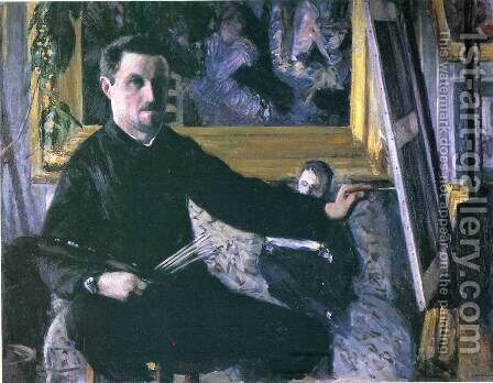 Self Portrait With Easel by Gustave Caillebotte - Reproduction Oil Painting