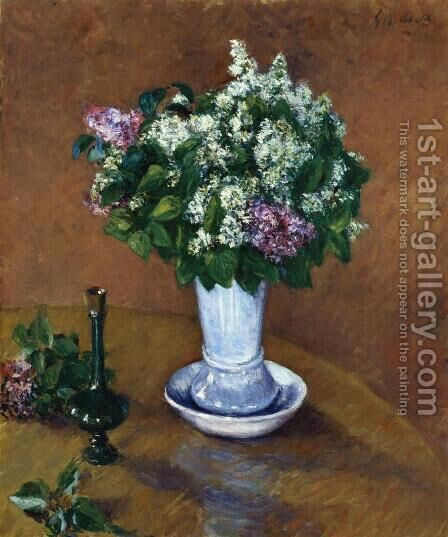 Still LIfe With A Vase Of Lilacs by Gustave Caillebotte - Reproduction Oil Painting