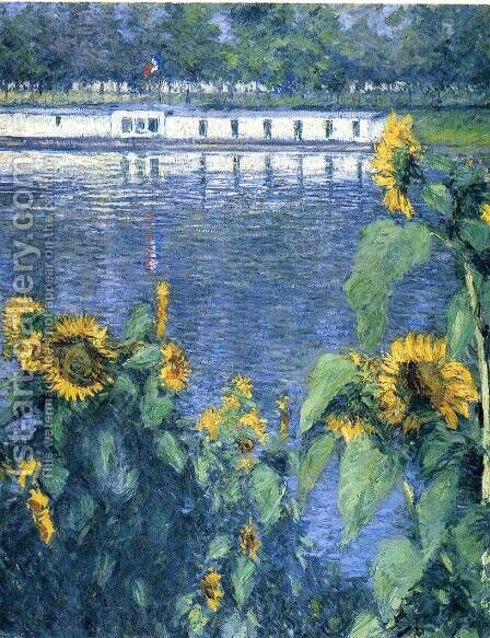 Sunflowers On The Banks Of The Seine by Gustave Caillebotte - Reproduction Oil Painting