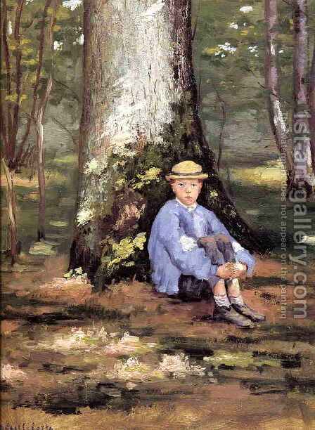 Yerres  Camille Daurelle Under An Oak Tree by Gustave Caillebotte - Reproduction Oil Painting