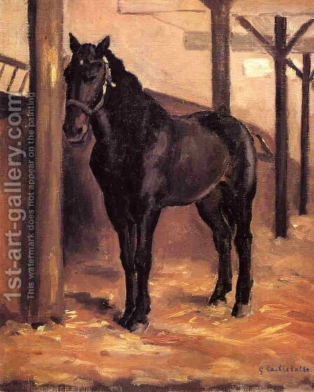Yerres  Dark Bay Horse In The Stable by Gustave Caillebotte - Reproduction Oil Painting