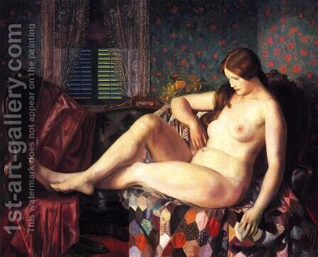 Nude With Hexagonal Quilt by George Wesley Bellows - Reproduction Oil Painting