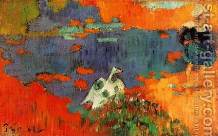 Breton Woman And Goose By The Water by Paul Gauguin - Reproduction Oil Painting