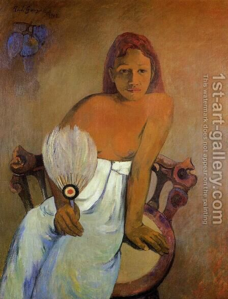 Girl With A Fan by Paul Gauguin - Reproduction Oil Painting