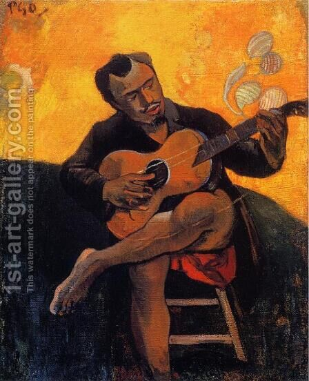 The Guitar Player by Paul Gauguin - Reproduction Oil Painting