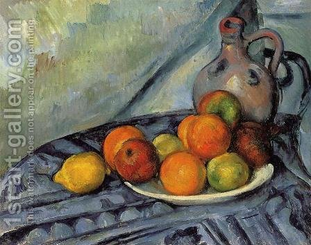 Fruit And Jug On A Table by Paul Cezanne - Reproduction Oil Painting
