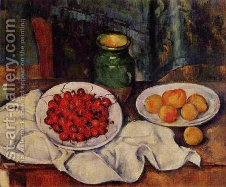 Still Life With A Plate Of Cherries Aka Cherries And Peaches by Paul Cezanne - Reproduction Oil Painting