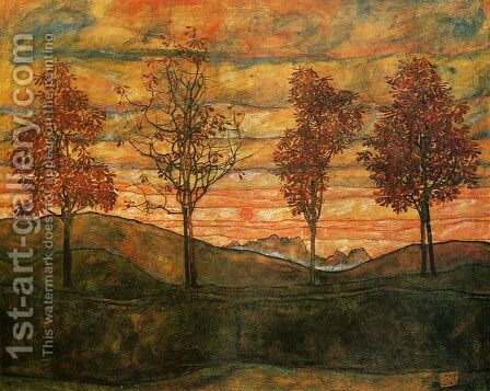 Four Trees by Egon Schiele - Reproduction Oil Painting