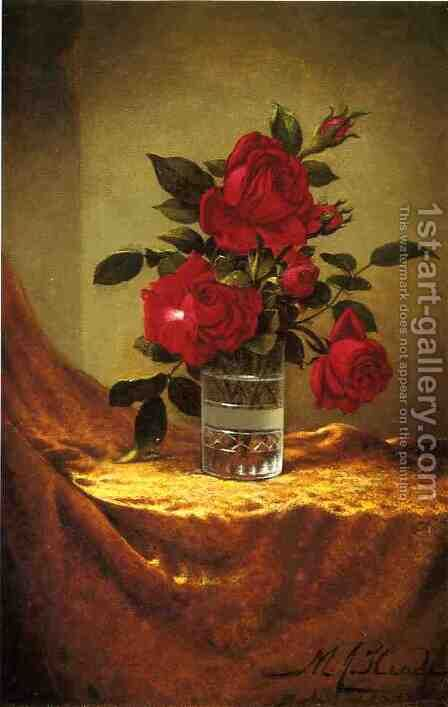 A Glass Of Roses On Gold Cloth by Martin Johnson Heade - Reproduction Oil Painting