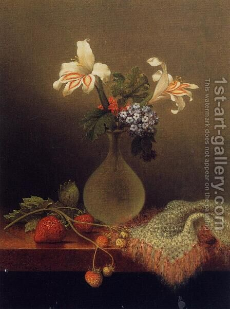 A Vase Of Corn Lilies And Heliotrope by Martin Johnson Heade - Reproduction Oil Painting