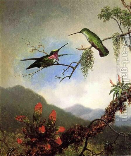 Amethyst Hummingbirds And Red Flowers by Martin Johnson Heade - Reproduction Oil Painting