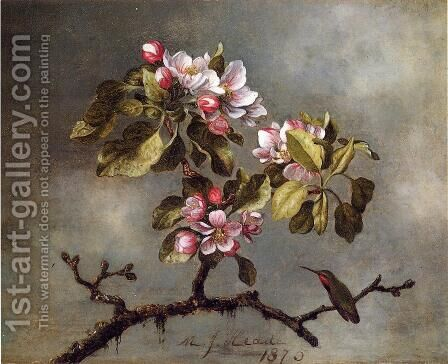 Apple Blossoms And Hummingbird2 by Martin Johnson Heade - Reproduction Oil Painting