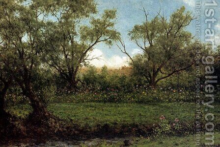 Asters In A Field Aka Brookside by Martin Johnson Heade - Reproduction Oil Painting
