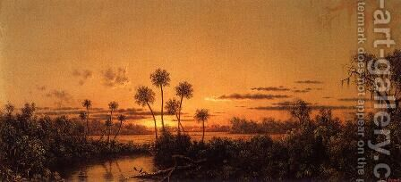 Florida River Scene Early Evening  After Sunset by Martin Johnson Heade - Reproduction Oil Painting