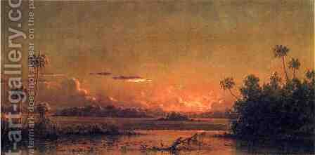 Florida Sunset With Waterfowl by Martin Johnson Heade - Reproduction Oil Painting