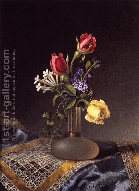 Flowers In A Frosted Vase by Martin Johnson Heade - Reproduction Oil Painting