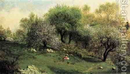 Girl On A Hillside  Apple Blossoms by Martin Johnson Heade - Reproduction Oil Painting