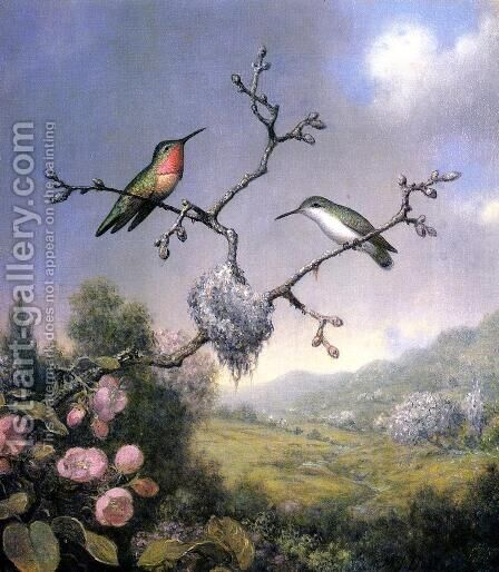 Hummingbirds And Apple Blossoms by Martin Johnson Heade - Reproduction Oil Painting