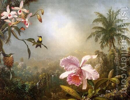 Orchids  Nesting Hummingbirds And A Butterfly by Martin Johnson Heade - Reproduction Oil Painting