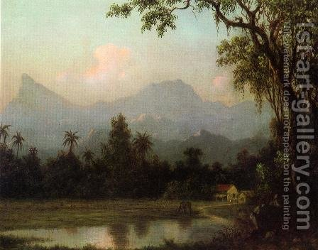 Rio De Janeiro  South American Scene With Cabin by Martin Johnson Heade - Reproduction Oil Painting