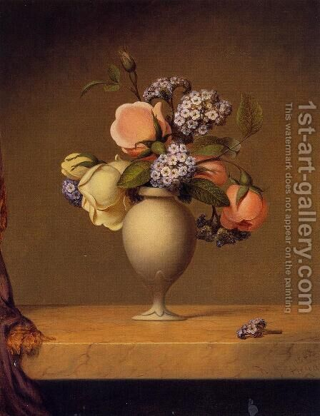 Roses And Heliotrope In A Vase On A Marble Tabletop by Martin Johnson Heade - Reproduction Oil Painting