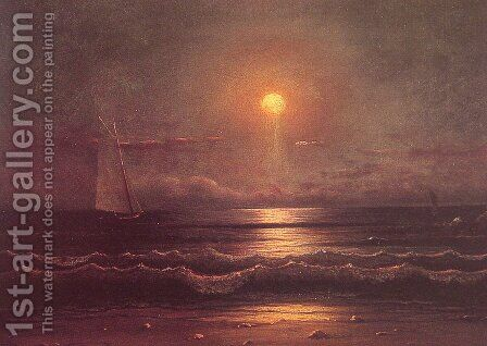 Sailing By Moonlight by Martin Johnson Heade - Reproduction Oil Painting