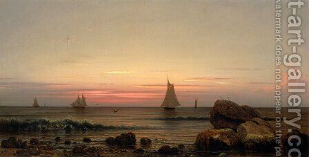 Sailing Off The Coast by Martin Johnson Heade - Reproduction Oil Painting