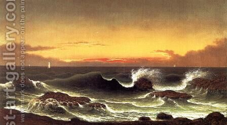 Seascape Sunrise by Martin Johnson Heade - Reproduction Oil Painting