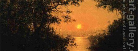 Sunset Aka Jungle Scene by Martin Johnson Heade - Reproduction Oil Painting