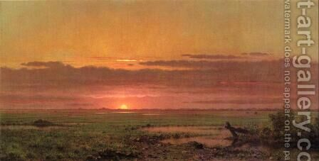 Sunset Marshland  New Jersey by Martin Johnson Heade - Reproduction Oil Painting