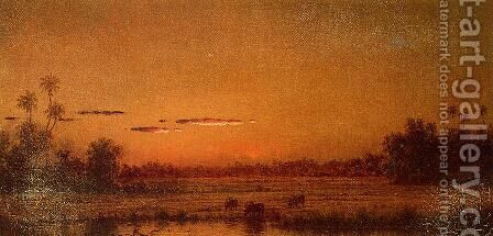 Sunset With Group Of Palms by Martin Johnson Heade - Reproduction Oil Painting