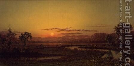 Two Fishermen In The Marsh  At Sunset by Martin Johnson Heade - Reproduction Oil Painting