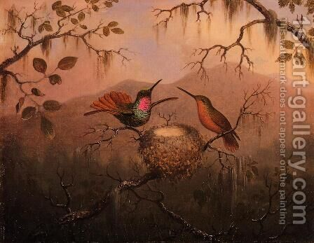 Two Hummingbirds At A Nest by Martin Johnson Heade - Reproduction Oil Painting