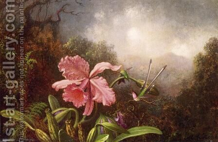 Two Hummingbirds By An Orchid by Martin Johnson Heade - Reproduction Oil Painting