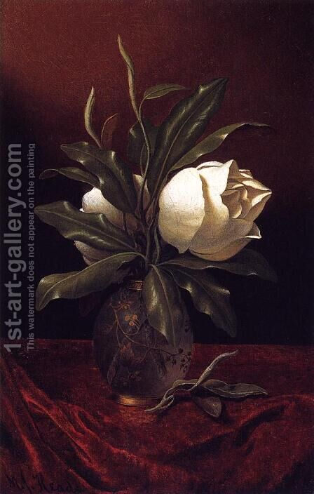 Two Magnolia Blossoms In A Glass Vase by Martin Johnson Heade - Reproduction Oil Painting