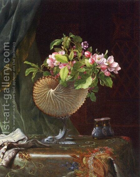 Victorian Still Life With Apple Blossoms by Martin Johnson Heade - Reproduction Oil Painting