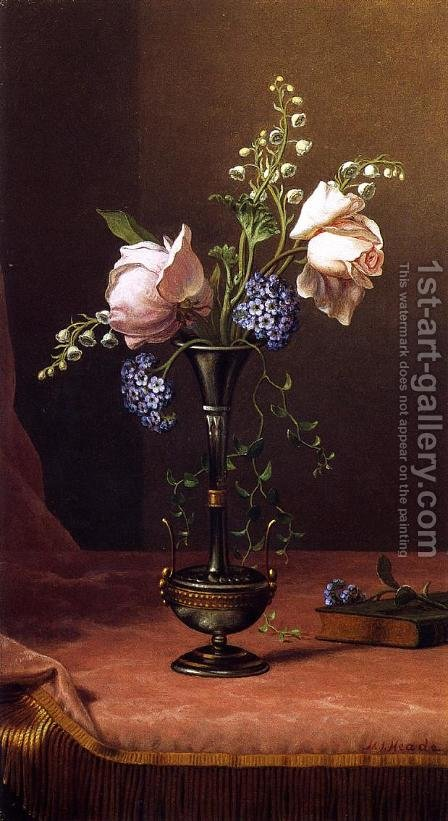 Victorian Vase With Flowers Of Devotion by Martin Johnson Heade - Reproduction Oil Painting
