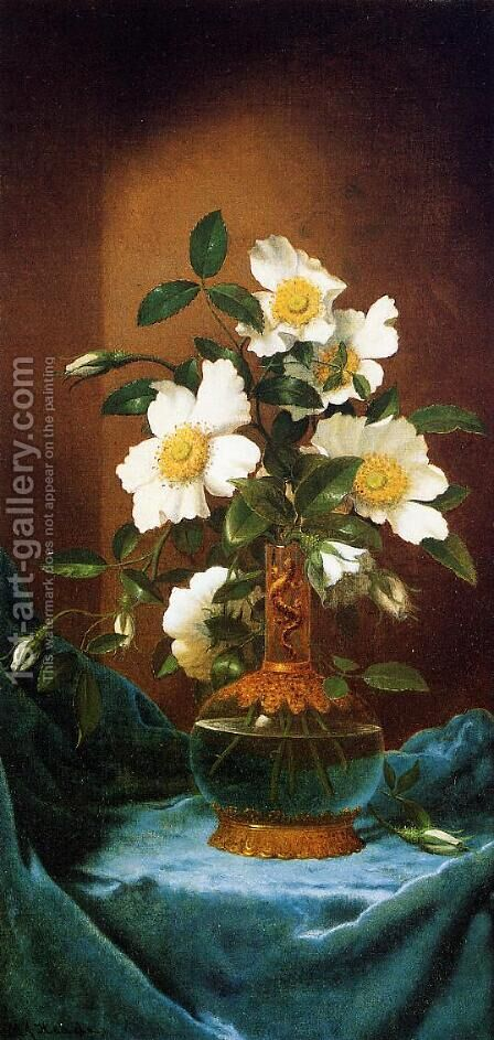 White Cherokee Roses In A Salamander Vase by Martin Johnson Heade - Reproduction Oil Painting