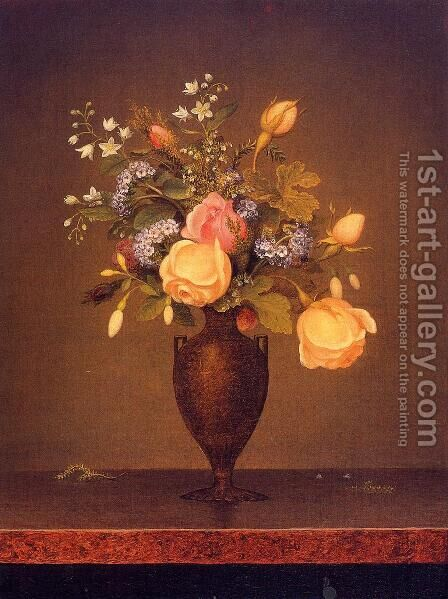 Wildflowers In A Brown Vase by Martin Johnson Heade - Reproduction Oil Painting
