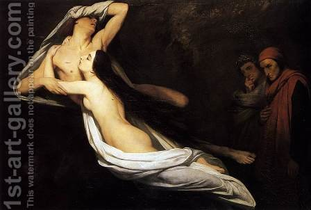 The Ghosts of Paolo and Francesca Appear to Dante and Virgil 1835 by Ary Scheffer - Reproduction Oil Painting