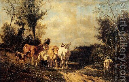 Returning From Pasture by Constant Troyon - Reproduction Oil Painting